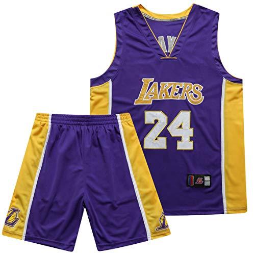 PGODYQ Baloncesto Jersey James 23 Kobe 24 Bryant 8 para Los Fanáticos De Lakers, Bola Bordada Número De Bola Y Logo Pantalones Cortos De Baloncesto para Hombre Jersey Chale 24purple-M