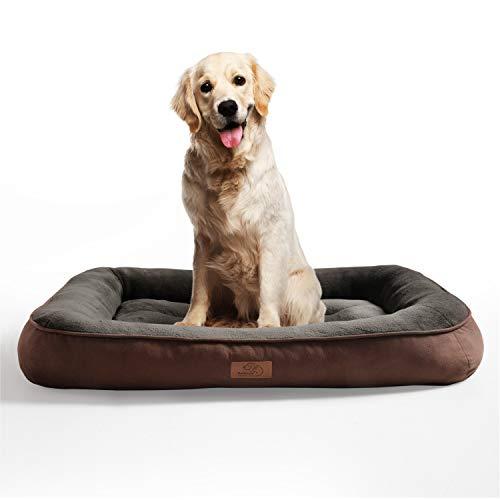 Bedsure Hundebett für große Hunde, Hundebetten niederige Ränder mit weiche Füllungen flauschig, auswählbar in Braun, Größe in 110x76 cm, 18 cm hoch