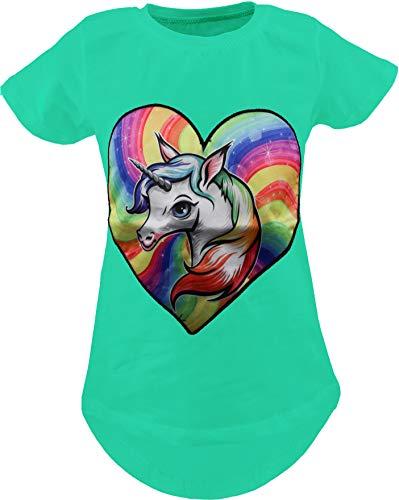 Einhorn Unicorn Schmetterling Kinder Mädchen T-Shirt Bluse LED Kurzarm Shirt Hemd Polo Rundhals...