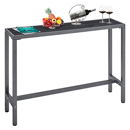 """Mr IRONSTONE Outdoor Bar Table 54.3"""" Pub Height Dining Table Bistro Patio Table with Waterproof Top and Hammer Finish Stands"""