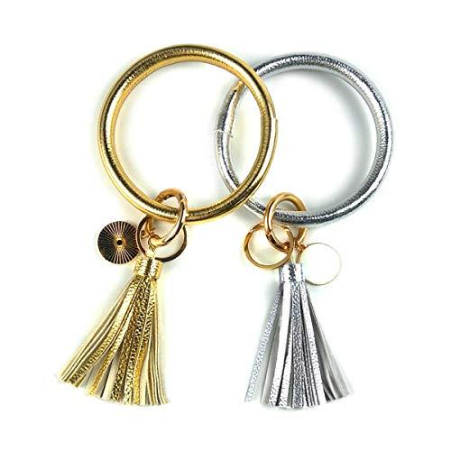 2 llaveros de pulsera para pulsera con diseño de círculo, llavero de cuero, borla para mujer (oro + plata)