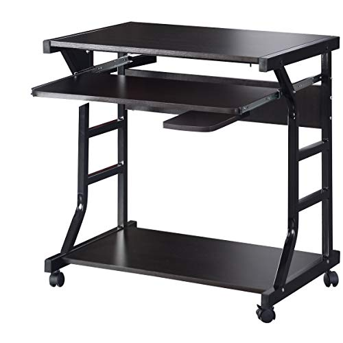 COSTWAY Computertisch mit Rollen Schreibtisch PC-Tisch Computerschreibtisch Bürotisch Laptoptisch Arbeitstisch Holz inkl. Tastaturauszug 75x50x75cm
