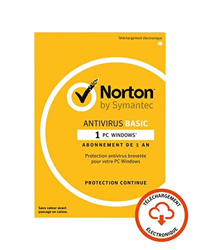 Norton Antivirus Basic 2019 | 1 Appareil | 1 an | PC | Téléchargement