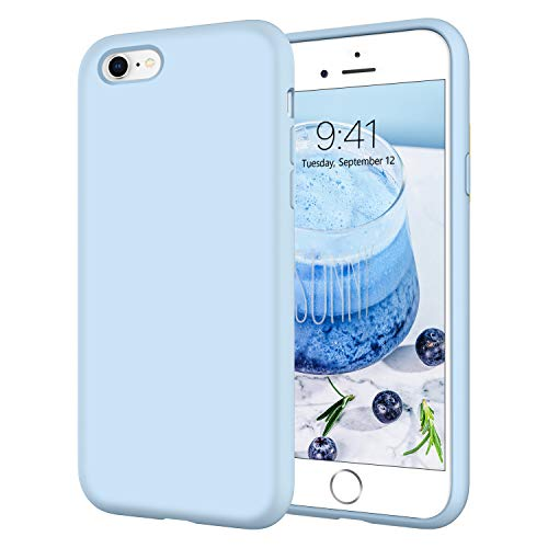 iPhone 6S Plus Case iPhone 6 Plus Cases DOMAVER Slim Smooth Liquid Silicone Soft Gel Rubber Microfiber Lining Cushion Cover Shockproof Protective Cases for iPhone 6S Plus/6 Plus 5.5 Inch, Light Blue
