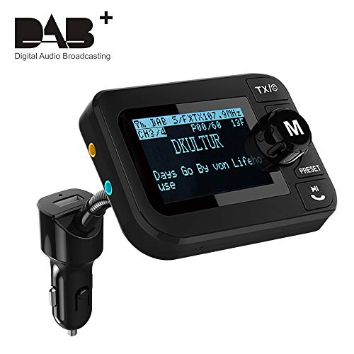 "In-Auto DAB Radio, Esuper Tragbares Autoradio DAB + Adapter mit FM Sender + Bluetooth Audio Empfänger + 3.5 mm Aux Ausgang + 5V 2.1A Kfz Ladegerät + U-Disk / TF Play + 2.3"" LCD-Display + Freisprechen"