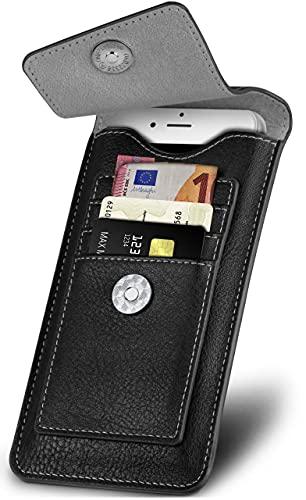 ONEFLOW Zeal Hülle kompatibel mit Fairphone 3 / 3 Plus Hülle mit Kartenfach 360 Grad R&um-Schutz Gürteltasche, Vegan Leder Sleeve Handyhülle Gürtel-Clip Halterung - Schwarz
