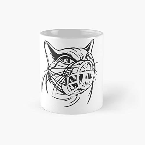 Taza clásica con diseño de gato enojado con un bozal | El mejor regalo divertidas tazas de café de 325 ml