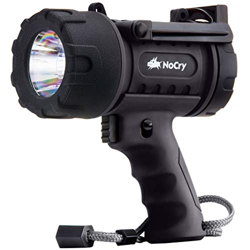 NoCry 18W Waterproof Rechargeable Torch Light (Flashlight) with 1000 Lumen LED, Detachable Red Light Filter, Wall and Car Charger Attachments