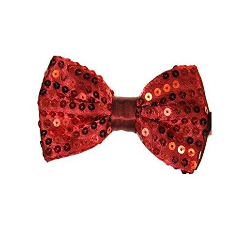 Rouge foncé bordeaux classique satiné Sequin Dickie Nœud papillon Fancy Dress Party Pretied enveloppant à clipser