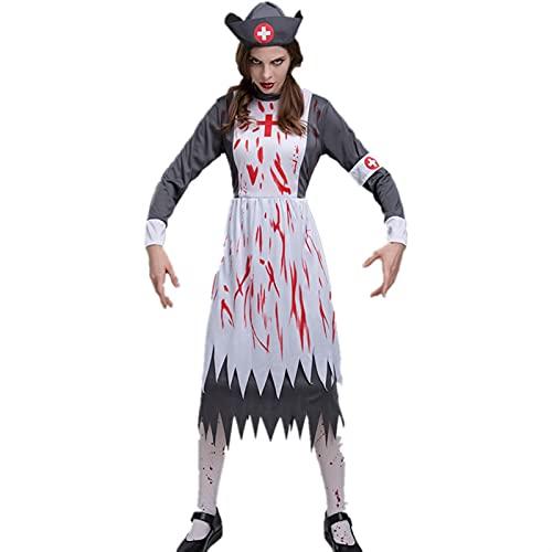 Damen Halloween gruselige Blutschwester Cosplay Unregelmäßige Saum Kleider mittelalterlichen Vintage Horror (Color : White, Größe : L)