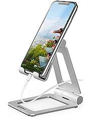 ZENLO スマホスタンド スマホホルダー 携帯スタンド スマホスタンド 卓上 タブレット スタンド アルミ製 折りたたみ式 滑り止め 角度調節可能 スマホ充電サポート 収納袋付き 4~11インチ対応 ipad/iPhone/Android多機種対応 (シルバー)