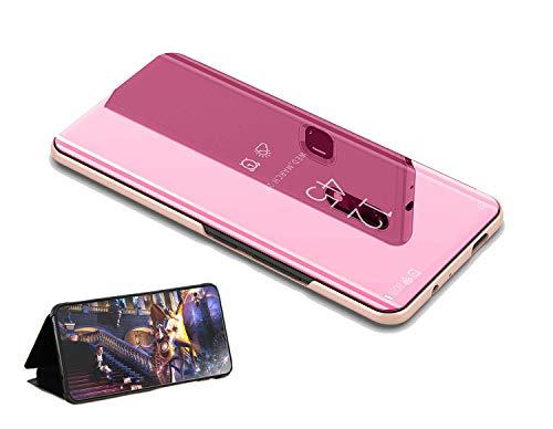 yanzi Coque pour Huawei P9 Or Rose,Smartphone Slim Protection Miroir Housse Etui à Rabat,Anti-Antichoc Protection Etui Bumper Case Cover,Cadeau [Protecteur D'écran en Verre Trempé]