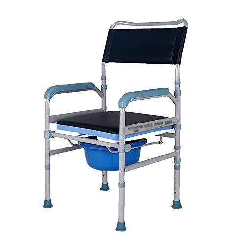 Comodino Pieghevole, Sedile WC Portatile, Sedia da Doccia, con Altezza Regolabile su 5 Livelli, per Persone con Disabilità, Anziani e Altri Fino a 300 kg