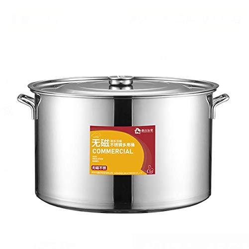 KAUTO Olla de Acero Inoxidable 304, Olla de Sopa Espesada para hostelería/hogar con Tapa, Olla de Cocina, para Estufa de Gas/Cocina de inducción (13-40L) Olla común (tamaño: 35L)