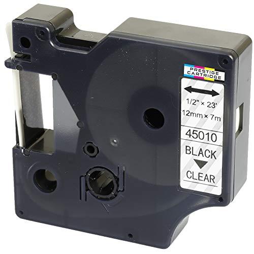 Kassette D1 45010 schwarz auf transparent 12mm x 7m Schriftband kompatibel für DYMO LabelManager LM 100 150 160 200 210D 260 280 300 350 350D 360D 400 420P 450 500TS PC2 PnP LabelWriter LW 400 450 Duo