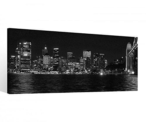 myDruck-Store Leinwand 1 TLG schwarz weiß Hamburg Stadt Skyline Bilder Wandbild Bild 9C206 Holz - fertig gerahmt - direkt vom Hersteller, 1 TLG BxH:80x40cm
