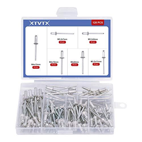 XTVTX 120 PCS Aluminium blinde klinknagel 6 maten Grote flens popnagels Assortiment Kit Voor binnen- en buitengebruik (zilver)