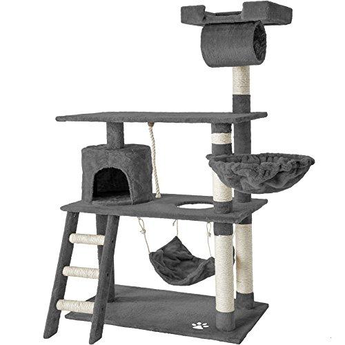 TecTake Tiragraffi per gatto gatti gioco albero 141 cm con amaca - disponibile in diversi colori - (Grigio | No. 401853)