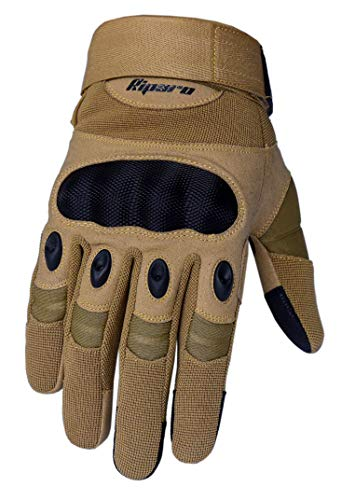 Riparo Tactical Touchscreen Gloves Military Shooting Hunting Rubber Outdoor Gloves (Medium, Sand)