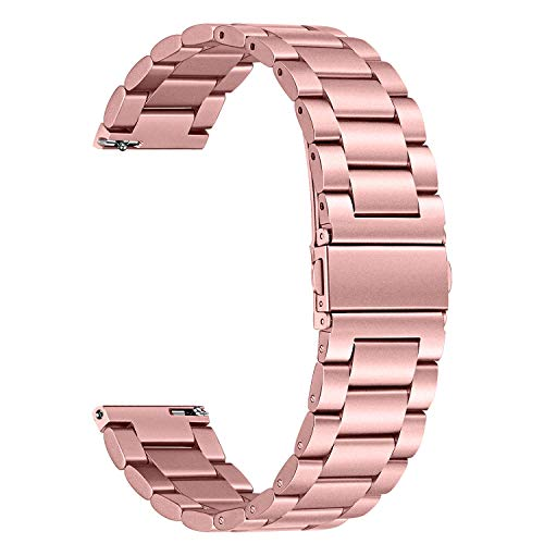 watch with pink bands TRUMiRR Women Band for Galaxy Watch Active2 40mm 44mm Pink Gold, Solid Stainless Steel Watchband Quick Release Strap Wristband for Samsung Galaxy Watch Active 2 R830 R820/Active 40mm R500