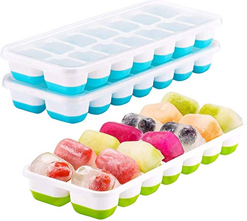 3 Packs Ice Cube Tray Easy Release Silicone Ice Cube Trays...