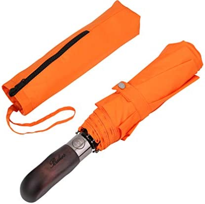 Balios Travel Folding Umbrella with Real Wood Handle Auto Open Close Vented Windproof Canopy - Designed in UK