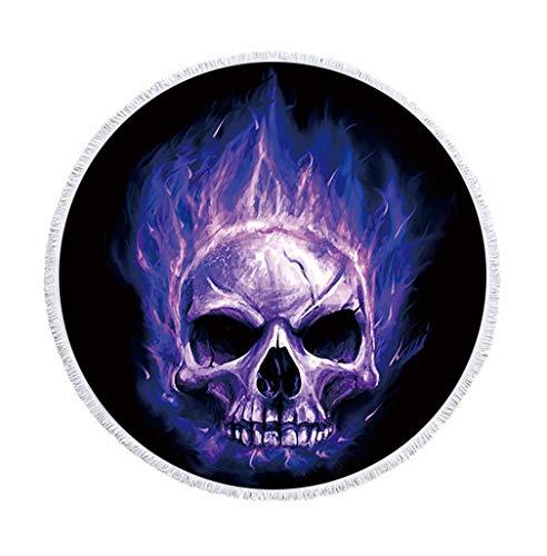 Sticker Superb Grande Cráneo del Azúcar Toalla de Playa Redonda con Borla 59 Pulgadas Marco del Cráneo Estera de Yoga Manta de Playa Mujer Niña (Morado, 150 cm)