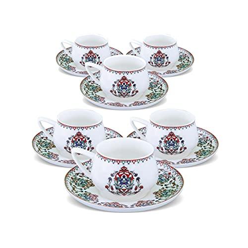 KARACA Nakkash Türkische Kaffeetassen Set Für 6 Personen, 12 TLG, 90 ml, 6X Espressotasse und 6X Untertasse, Mokkatassen/Espressotassen Set aus Porzellan, Kaffeetassen mit Untertasse-Espresso Set