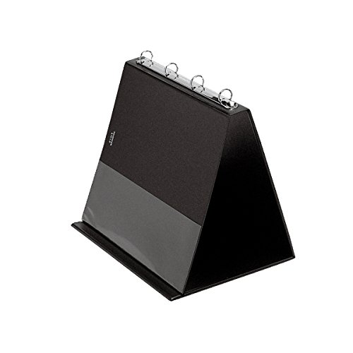 Veloflex 4101080 Tisch-Flipchart A4, Präsentation, Flipchart, Aufstellringbuch, aus PVC, Querformat, schwarz