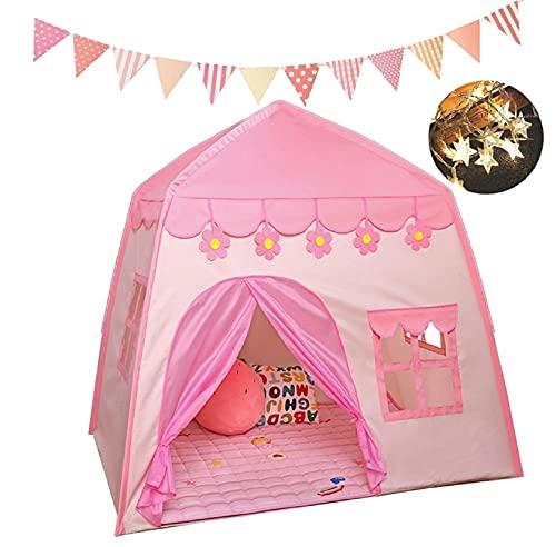 LUNA PARK Casa De Niñas Castillo Princesa Juguete Interior Tienda con Luces y Banderin Accesorios (Rosa)