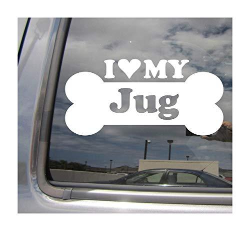 Lplpol I Heart Love My Jug Dog Bone Jack Russell Terrier Pug Designer Mixto Hybrid Raza Coches Camiones Casco de Surfboard Auto Automóvil Craft Laptop Vinilo adhesivo de pared para ventana de tienda 6'