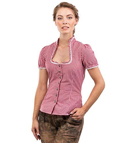 Trachtenbluse Jasmin - Elegante, Karierte und taillierte Bluse - mit schönen Herzknöpfen Jasmin (38, Rot/Weiss)