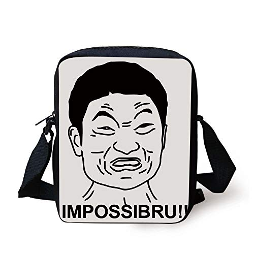 Humor Decor,Funny Impossibru Quote with Angry Asian Guy Meme Sarcasm Web Chat Design,Black White Print Kids Crossbody Messenger Bag Purse