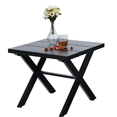 PHI VILLA Small Metal Indoor Outdoor Coffee Side Table for Outside Patio, Black