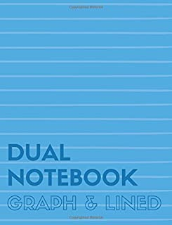 Dual Notebook Graph & Lined: Letter Size Notebook with Lined and Graph Pages Alternating, 8.5 x 11, 100 Pages (50 Wide Ruled + 50 Grid Lined), Blue Soft Cover (Graph & Line Journal XL) (Volume 2)