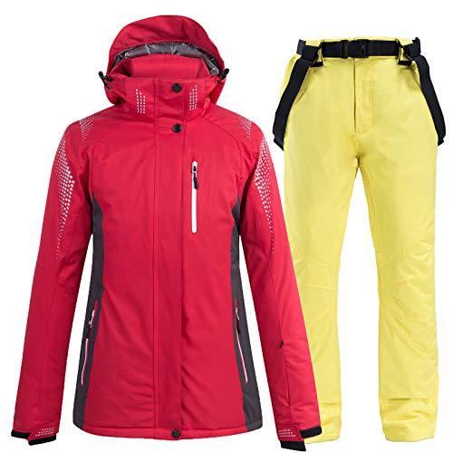 Outdoor Ski Jacke Und Hose Set, Ski Latzhose Jacke Wasserdichter Schneeanzug Für Damen Und Herren Skitouren, Rote Jacke,H,M