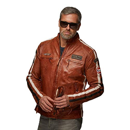 Grandprix Originals Gulf Classic Race Leather Jacket Cognac L