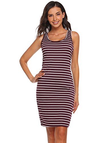 Asatr Women's Sleeveless Scoop Neck Striped Bodycon Tight Fitted Short Dresses