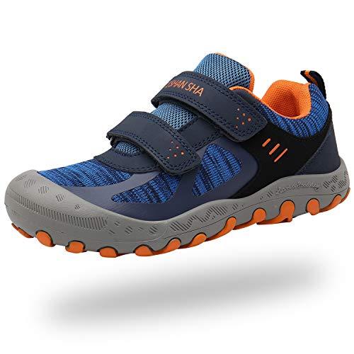 Mishansha Trekkingschuhe Mädchen Wanderschuhe Jungen Hallenschuhe Leicht Walkingschuhe Kinder Wasserdicht Herbstschuhe mit Klettverschluss(232 Tiefes Blau, 24 EU)