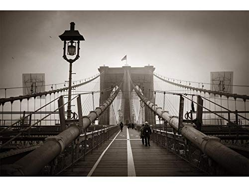 Oedim Stickers muraux Photo Image | Pont de Brooklyn Couleur Sépia | De 500 x 300 cm | Sticker Vinyle Adhésif Autocollant Fond Mural |