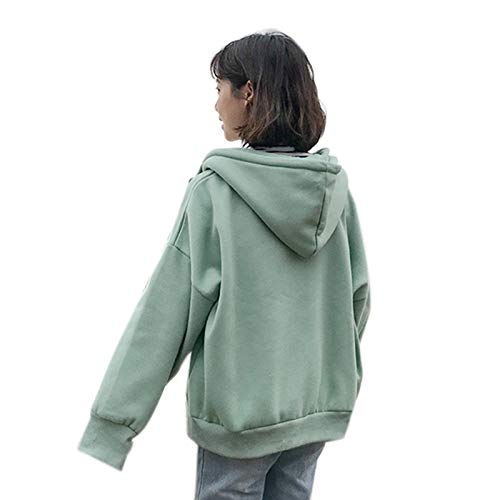 FATTERYU Chaqueta con Capucha de Manga Larga para Mujer Abrigo de Sudadera con Cremallera de Gran tamaño de Color sólido