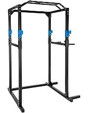 TecTake Multiestación de Fitness para Entrenamiento   2 puntales de Seguridad macizos   Poleas para Barras de Flexiones Inferiores y Superiores Modelos