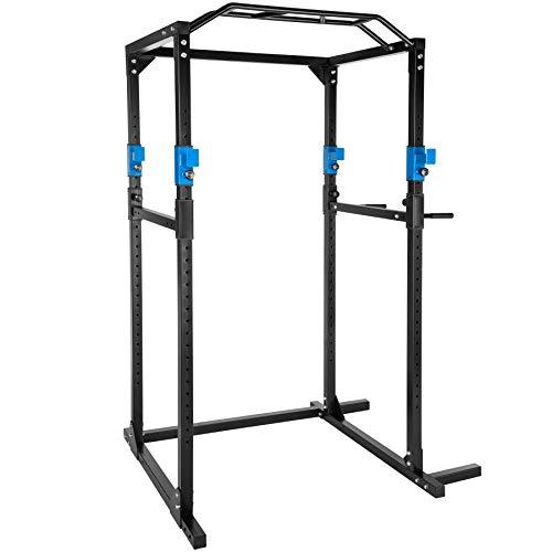 TecTake Kraftstation Fitnessstation Power Rack Power Cage | Klimmzug-Doppelstange | Robuster Rahmen aus Stahlrohr Modelle (Blau Schwarz | Nr. 402737)
