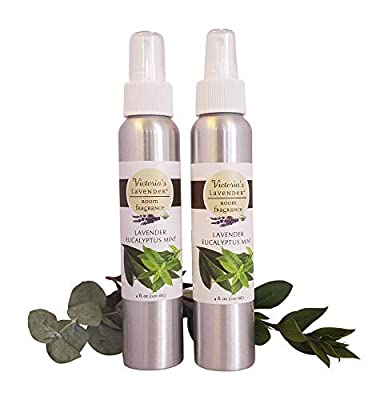 Victoria's Lavender Room Spray All-Natural Home Fragrance 100% Pure Essential Oil Air Freshener Odor Eliminator (2 pk Eucalyptus Mint)