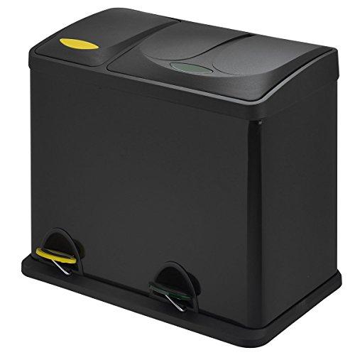 SVITA TC2Combo26 Küchen-Eimer 26Liter kombiniert (8L+18L) Schwarz doppelt Abfalleimer 2er-Mülleimer Mülltrennung Treteimer