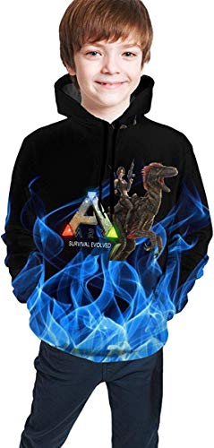 Rogerds Youth Teen ARK-Survival-Evolved Game Logo Hoodie Sweatershirt Long Sleeve Pullover Hoodies for Teens Boys Girls Clothes