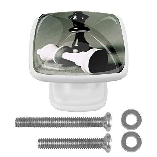 Perillas cuadradas de plástico con diseño lindo de aspecto moderno Pieza de ajedrez Tirador de puerta para armario, cajón, armario, 4 paquetes 3x2.1x2 cm