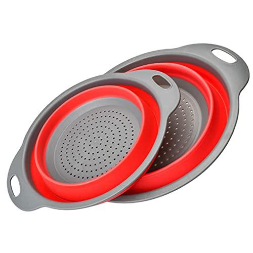 Liuying 2 cestas plegables de filtro de agua de silicona, cesta de filtro de drenaje plegable de tubo, filtro de cesta de lavado de frutas y verduras, cocina con asa, lavabo retráctil de drenaje rojo