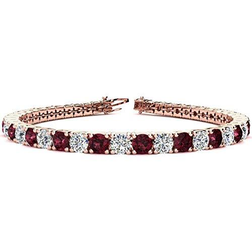 Silvernshine Jewels - Bracciale tennis con granato rosso e diamanti sim taglio rotondo da 9,66 ct, placcato oro bianco 14 K e Argento, colore: Rosa, cod. SNSB294-RG_9