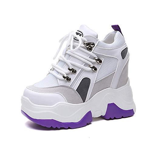 Plataforma Plana de Las Mujeres Zapatillas de Deporte de Primavera Verano talón Oculto Enredaderas Blancas de Malla Transpirable Casual Mujer Chunky Zapatos Deportivos